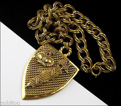 Vintage Heraldic Medieval Crest Shield Crown Rhinestone Pendant Necklace 1960's