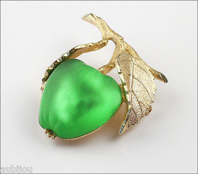 Vintage Napier Frosted Molded Glass Green Apple Brooch Pin