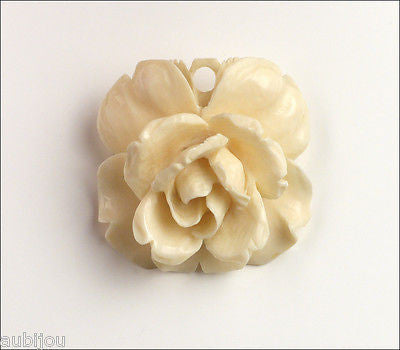 Vintage 3d Hand Carved Bone Floral Flower Rose Brooch Pin