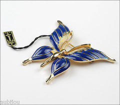 Vintage Crown Trifari Figural Dark Blue Enamel Butterfly Insect Brooch Pin Set