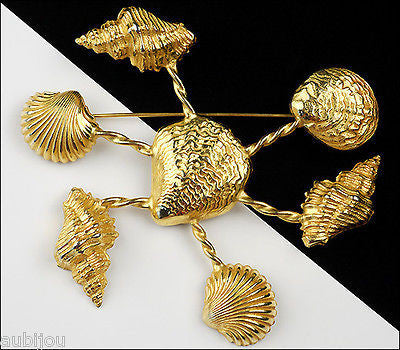 Vintage Dominique Aurientis Seashell Runway Brooch Pin Haute Couture France 1980's