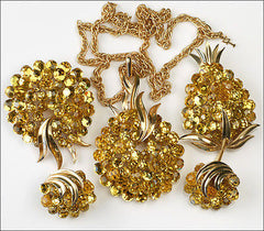 Vintage Trifari Briolette Light Topaz Rhinestone Pineapple Fruit Brooch Pin Set