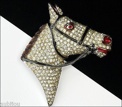 Vintage Rare Coro Pave Rhinestone Figural Horse Head Brooch Pin Rhodium Plated