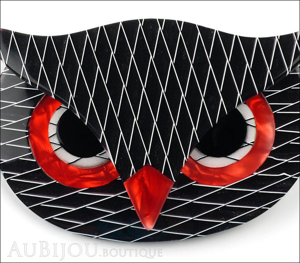 Lea Stein Athena The Owl Head Brooch Pin Black Red White Gallery