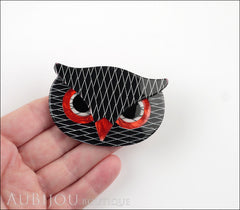Lea Stein Athena The Owl Head Brooch Pin Black Red White Model