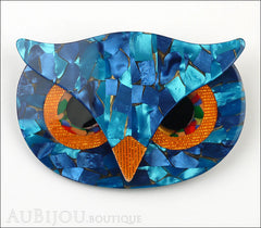 Lea Stein Athena The Owl Head Brooch Pin Blue Mosaic Orange Front