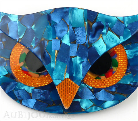 Lea Stein Athena The Owl Head Brooch Pin Blue Mosaic Orange Gallery