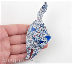 Lea Stein Attila The Cat Brooch Pin Floral White Blue Model