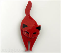 Lea Stein Attila The Cat Brooch Pin Red Black Front