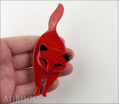 Lea Stein Attila The Cat Brooch Pin Red Black Model