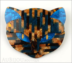 Lea Stein Bacchus The Cat Head Brooch Pin Blue Gold Mosaic Front