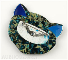 Lea Stein Bacchus The Cat Head Brooch Pin Blue Green Mosaic Back