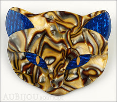 Lea Stein Bacchus The Cat Head Brooch Pin Blue Pearly Caramel Front