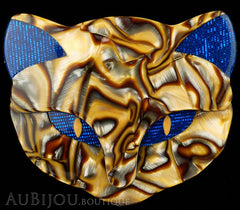 Lea Stein Bacchus The Cat Head Brooch Pin Blue Pearly Caramel