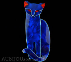 Lea Stein Quarrelsome Cat Brooch Pin Blue Red