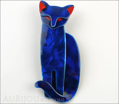 Lea Stein Quarrelsome Cat Brooch Pin Blue Red Front