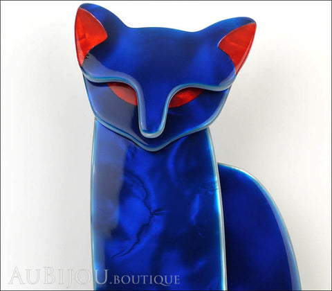 Lea Stein Quarrelsome Cat Brooch Pin Blue Red Gallery
