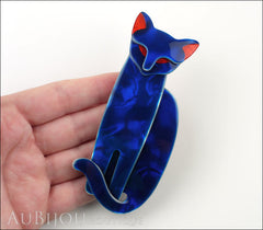 Lea Stein Quarrelsome Cat Brooch Pin Blue Red Model
