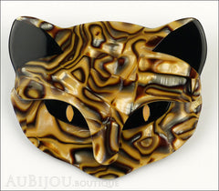 Lea Stein Bacchus The Cat Head Brooch Pin Caramel Mosaic Froont