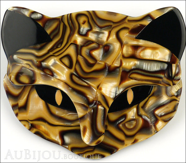 Lea Stein Bacchus The Cat Head Brooch Pin Caramel Mosaic Gallery