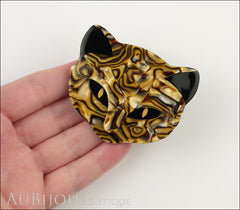 Lea Stein Bacchus The Cat Head Brooch Pin Caramel Mosaic Model