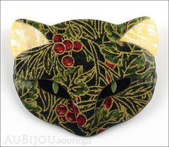 Lea Stein Bacchus The Cat Head Brooch Pin Green Cherry Floral Cream Front