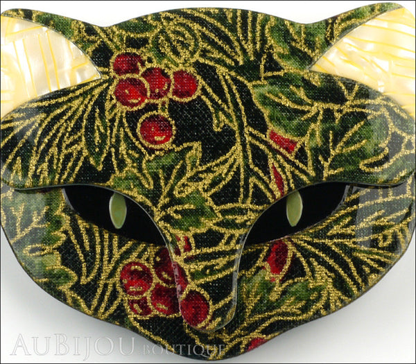 Lea Stein Bacchus The Cat Head Brooch Pin Green Cherry Floral Cream Gallery