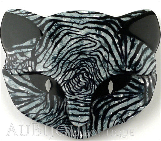 Lea Stein Bacchus The Cat Head Brooch Pin Grey Black Animal Print Gallery