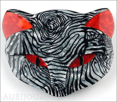 Lea Stein Bacchus The Cat Head Brooch Pin Grey Red Animal Print Front