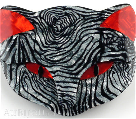 Lea Stein Bacchus The Cat Head Brooch Pin Grey Red Animal Print Gallery