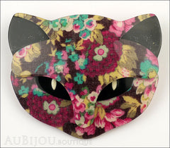 Lea Stein Bacchus The Cat Head Brooch Pin Multicolor Floral Black Front