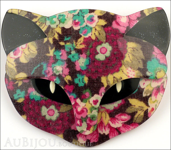 Lea Stein Bacchus The Cat Head Brooch Pin Multicolor Floral Black Gallery