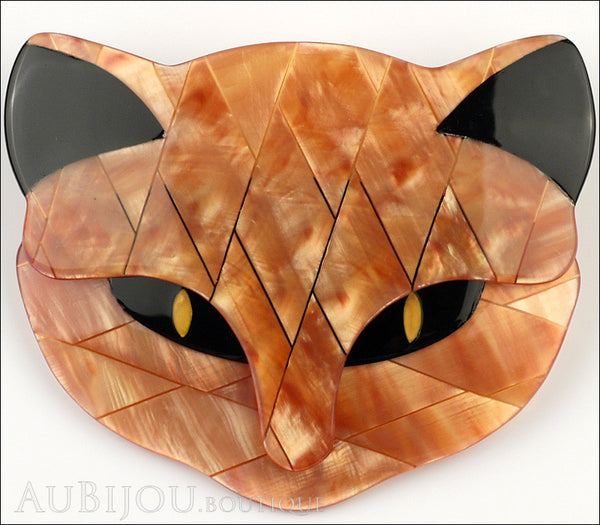 Lea Stein Bacchus The Cat Head Brooch Pin Pearly Peach Gallery