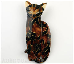 Lea Stein Quarrelsome Cat Brooch Pin Tortoise Black Front