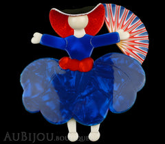 Lea Stein Ballerina Scarlett O'Hara Fan Brooch Pin Blue Red White Black