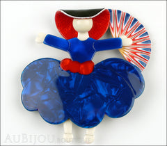 Lea Stein Ballerina Scarlett O'Hara Fan Brooch Pin Blue Red White Front