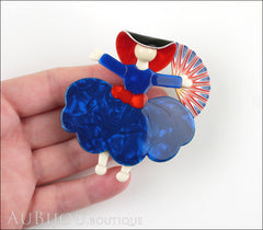 Lea Stein Ballerina Scarlett O'Hara Fan Brooch Pin Blue Red White Model
