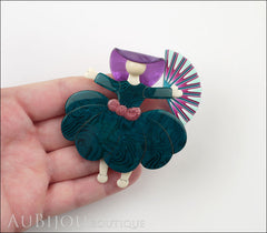 Lea Stein Ballerina Scarlett O'Hara Fan Brooch Pin Dark Green Blue Violet Model