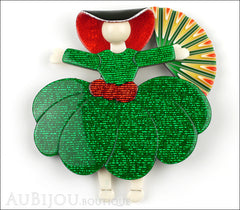 Lea Stein Ballerina Scarlett O'Hara Fan Brooch Pin Green Red Yellow Front