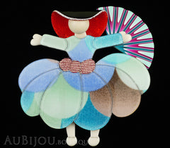 Lea Stein Ballerina Scarlett O'Hara Fan Brooch Pin Light Multicolor Pastels Black