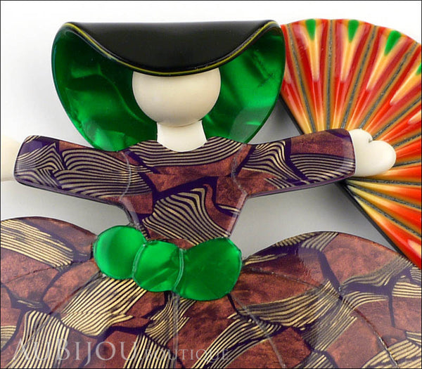 Lea Stein Ballerina Scarlett O'Hara Fan Brooch Pin Lilac Gold Green Red Gallery