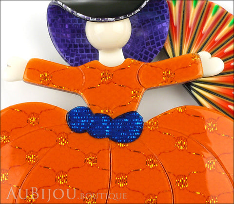 Lea Stein Ballerina Scarlett O'Hara Fan Brooch Pin Orange Violet Multicolor Gallery