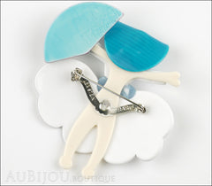 Lea Stein Ballerina Scarlett O'Hara Fan Brooch Pin Pearly White Azure Back
