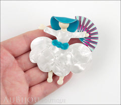 Lea Stein Ballerina Scarlett O'Hara Fan Brooch Pin Pearly White Azure Model