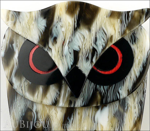 Lea Stein Buba The Owl Bird Brooch Pin Black Grey Horn Gallery
