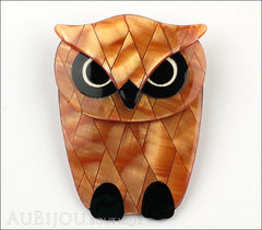 Lea Stein Buba The Owl Bird Brooch Pin Pearly Peach Black Front