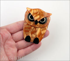 Lea Stein Buba The Owl Bird Brooch Pin Pearly Peach Black Model