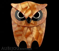 Lea Stein Buba The Owl Bird Brooch Pin Pearly Peach Black