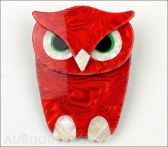 Lea Stein Buba The Owl Bird Brooch Pin Red Pearly White Front