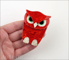 Lea Stein Buba The Owl Bird Brooch Pin Red Pearly White Model